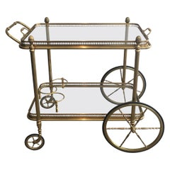 Maison Bagués, Neoclassical Style Brass Drinks Trolley, French, Circa 1940
