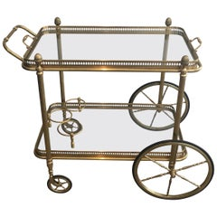 Maison Baguès, Neoclassical Style Brass Drinks Trolley with Removable Glass Tray