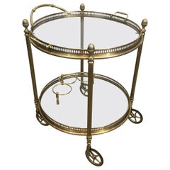 Maison Bagués, Neoclassical Style Brass Round Bar Cart with 2 Removable Trays