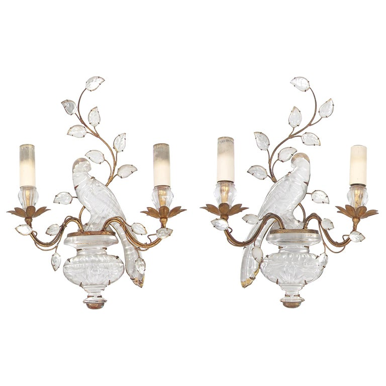 Maison Baguès Pair of Wall Sconces, Iconic Parrot and Urn Design For Sale