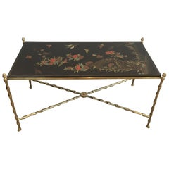 Maison Bagués. Rare Neoclassical Bronze Coffee Table with Faux-Bambo