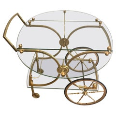 Maison Bagués, Rare Neoclassical Style Brass and Glass Drinks Trolley