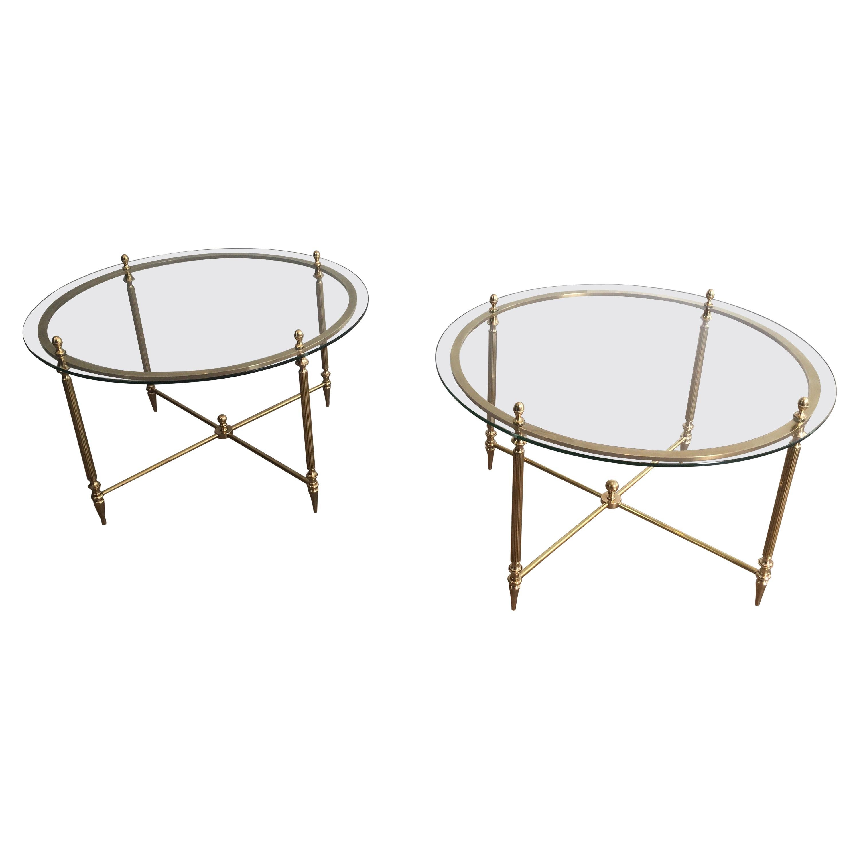 Maison Bagués, Rare Pair of Neoclassical Round Brass and Glass Side Tables