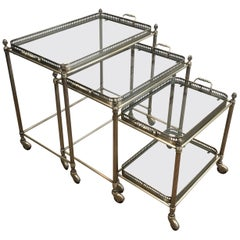 Maison Bagués, Rare Set of 3 Neoclassical Style Silvered Brass Nesting Tables