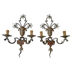 Maison Baguès Red Signed Crystal Flowers Sconces, Wrought Iron, circa 1900