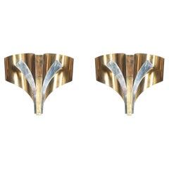 Maison Baguès Sconces Brass Large Pair, France, circa 1965