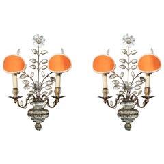 Maison Baguès, Satz von vier Leuchter, Murano-Glas, Frankreich, um 1950