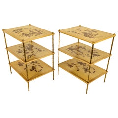 Maison Bagues Side Tables with Lacquered Panels