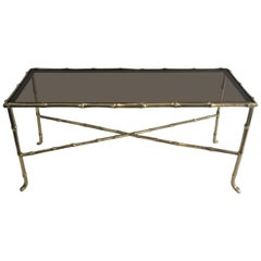 Maison Baguès, Small Faux-Bamboo Bronze Coffee Table with Smoked Glass Shelf