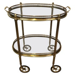 Maison Baguès, Small Neoclassical St. Oval Brass Bar Cart with 2 Removable Trays