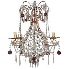 Maison Bagues Style Amethyst French Beaded Balloon Crystal Chandelier circa 1940