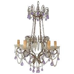Maison Baguès Style Beaded Crystal Basket Lavender Purple Drops Chandelier
