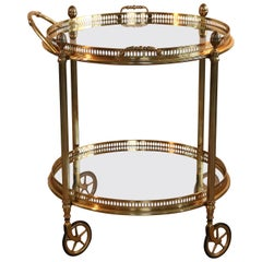 Maison Baguès Style Brass and Glass 2-Tier Bar Cart Trolley Dry Bar on Casters