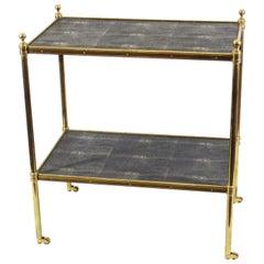 Maison Baguès Style Brass and Shagreen Bar Cart