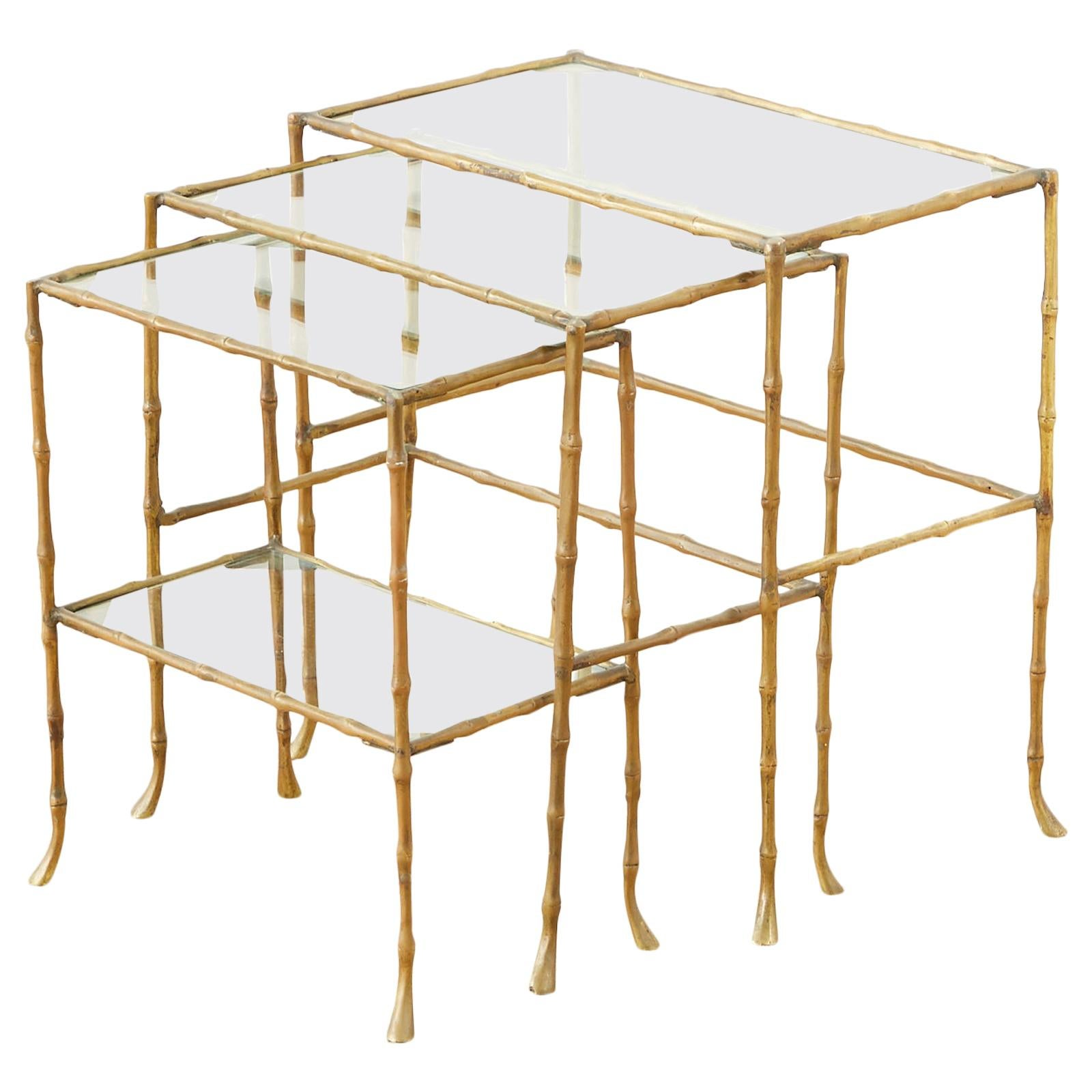 Maison Baguès Style Bronze Nesting Drink Tables