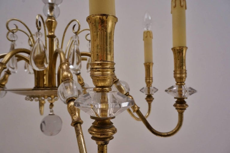 Maison Bagues Style Chandelier, Bronze and Crystal, French, circa 1940s For Sale 10