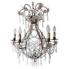 Maison Bagues Style French Beaded Balloon Crystal Chandelier, circa 1940