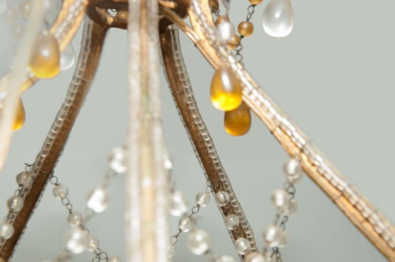 French Maison Bagues Style, Glass beaded, little Chandelier, in Guilt Metal, France For Sale