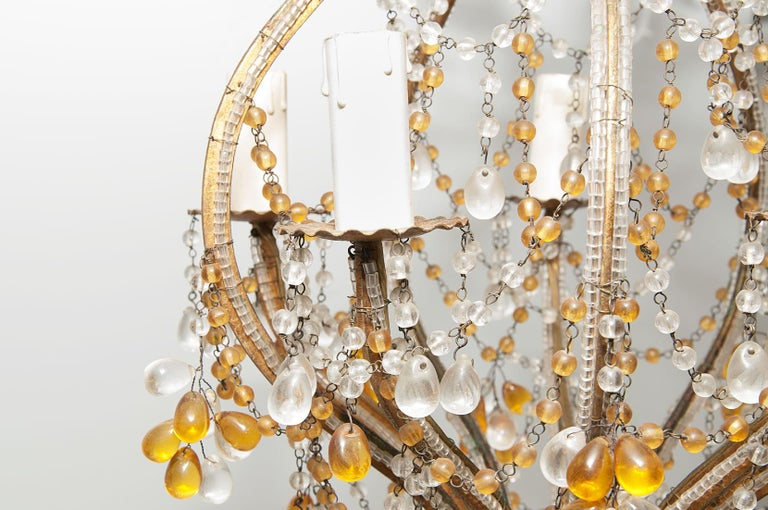 Mid-20th Century Maison Bagues Style, Glass beaded, little Chandelier, in Guilt Metal, France For Sale