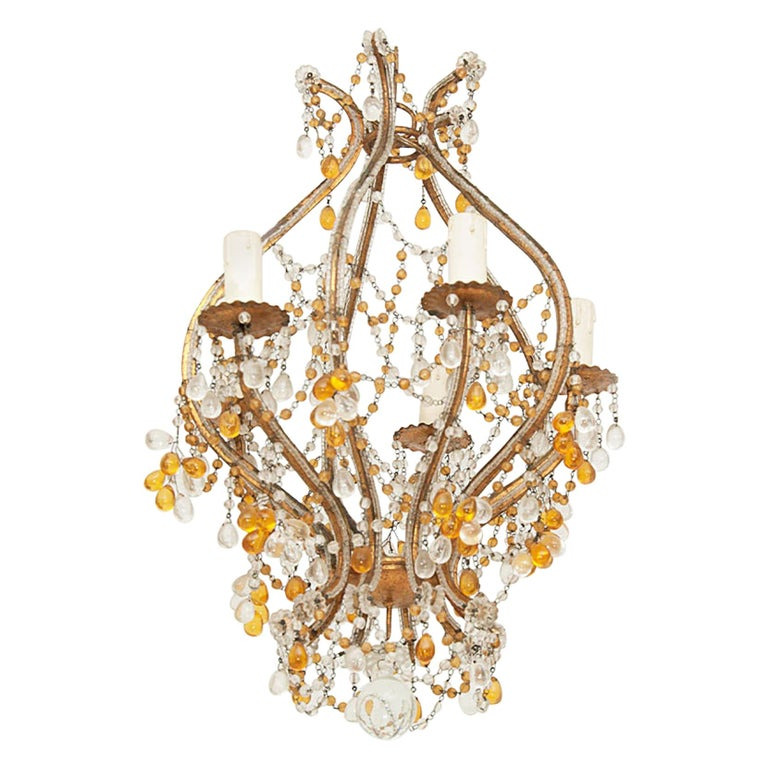 Maison Bagues Style, Glass beaded, little Chandelier, in Guilt Metal, France For Sale