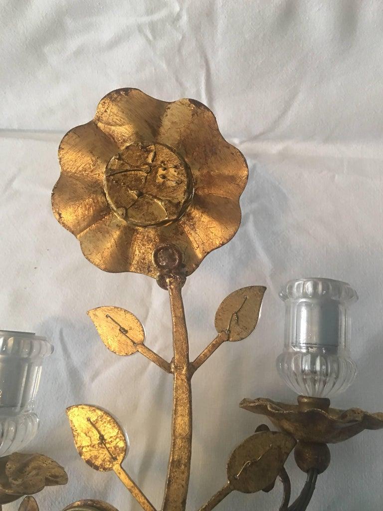 Maison Baguès Style Gold Leaf Crystal Sconce For Sale 7