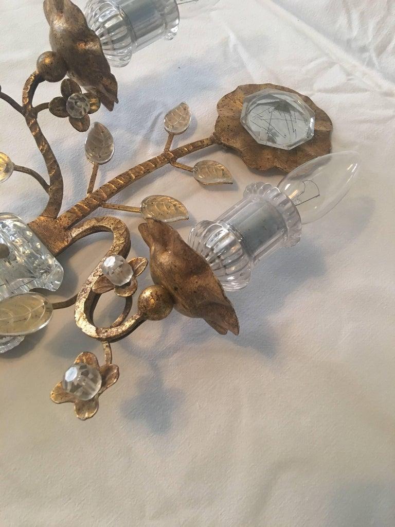Maison Baguès Style Gold Leaf Crystal Sconce For Sale 2