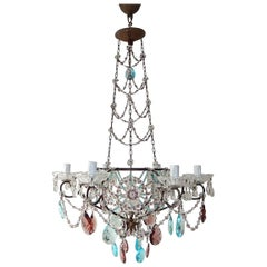 Maison Baguès Style Intricate Beaded Crystal Basket Blue Amethyst Chandelier