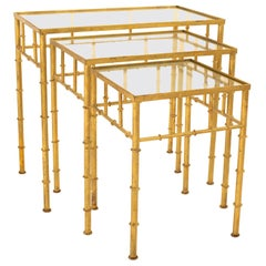 Maison Baguès Style MCM Brass and Glass Faux Bamboo Nesting Tables, Set of 3