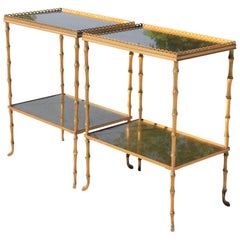 Maison Baguès Style Pair of Gold Faux Bamboo French Rectangle Tray Tables