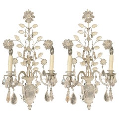 Maison Baguès Style Pair of Rock Crystal Wall Sconces