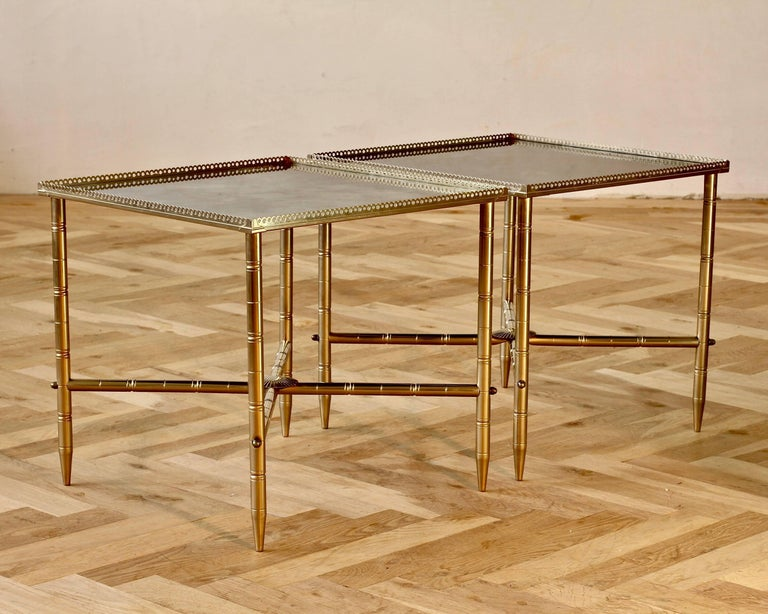 Mid-Century Modern Maison Baguès Style Pair of Side or End Tables or Nightstands, France For Sale
