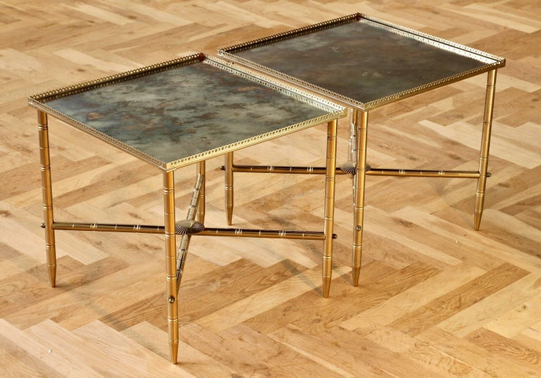 Plated Maison Baguès Style Pair of Side or End Tables or Nightstands, France For Sale