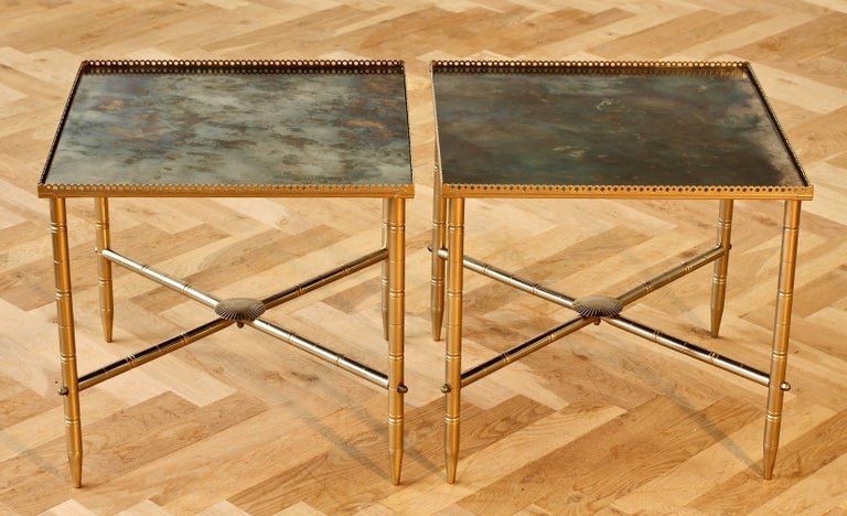 Maison Baguès Style Pair of Side or End Tables or Nightstands, France In Good Condition For Sale In Landau an der Isar, Bayern