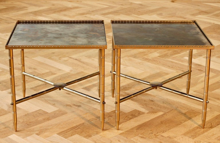 20th Century Maison Baguès Style Pair of Side or End Tables or Nightstands, France For Sale