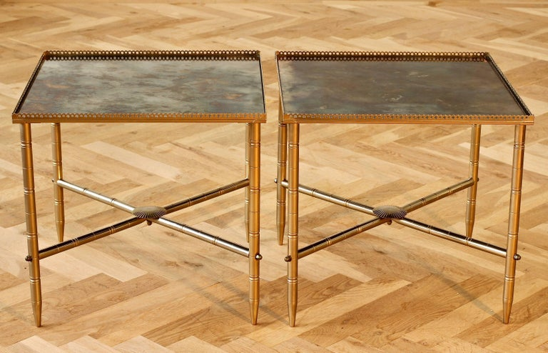 Maison Baguès Style Pair of Side or End Tables or Nightstands, France For Sale 1