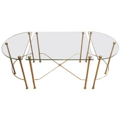 Maison Bagués, Tripartite Brass and Glass coffee Table, French, circa 1970