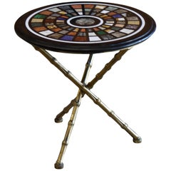 Maison Bagues Tripod Side Table with Specimen Marble Top