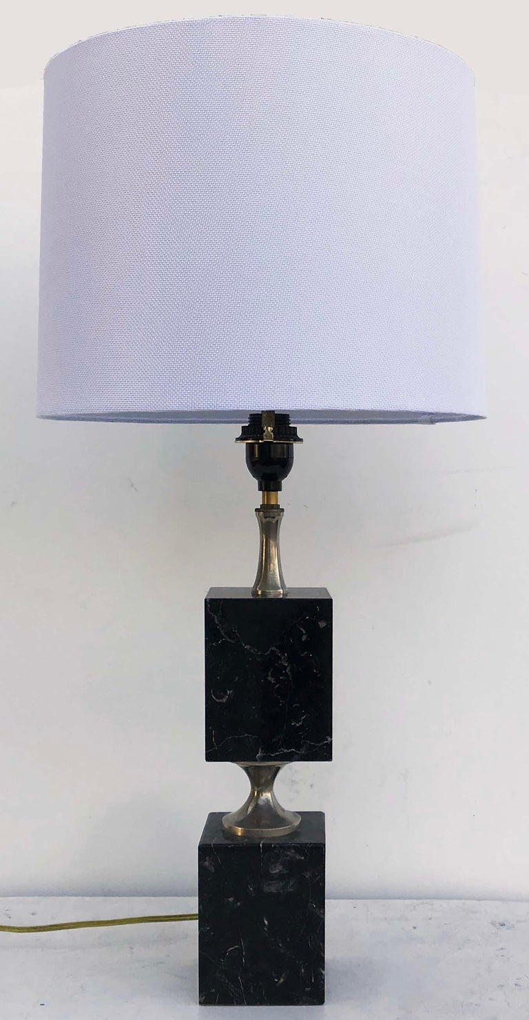 Superb Maison Barbier black Carrara marble table lamp.