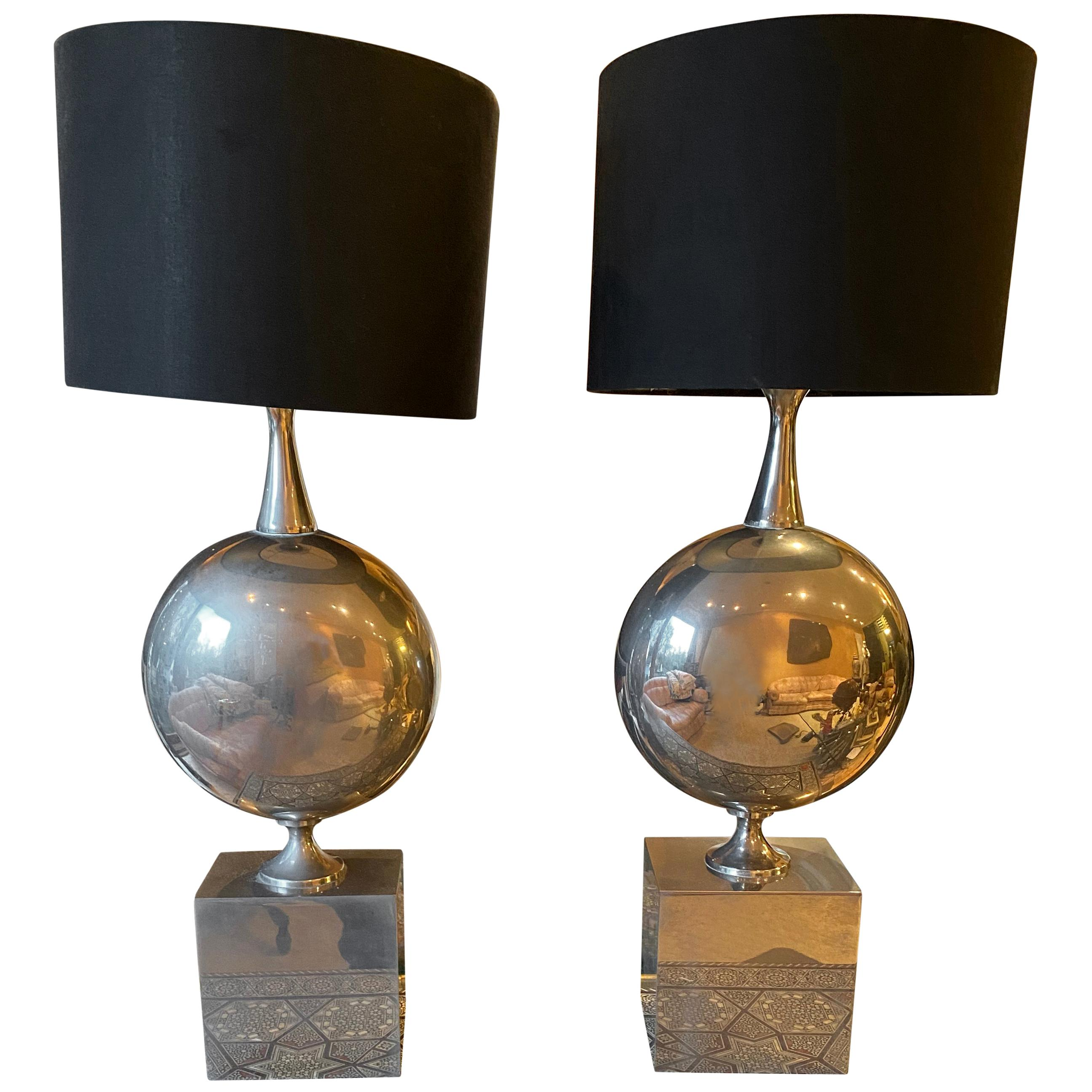Maison Barbier Pair of Chromed Steel Table Lamps, 1970s