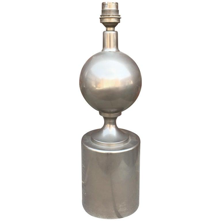 Maison Barbier Steel Lamp, France, 1970s For Sale