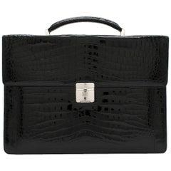 Maison Black Crocodile Briefcase W/ White Gold & Diamond Hardware