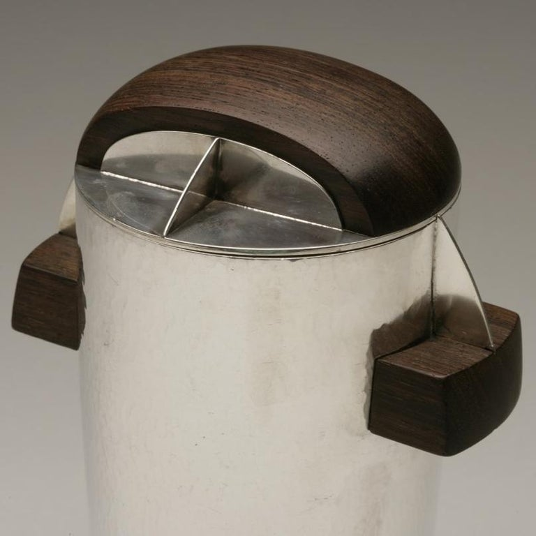 French Maison Bloch Eschwege .950 Silver and Wood Art Deco Cocktail Shaker/Urn For Sale