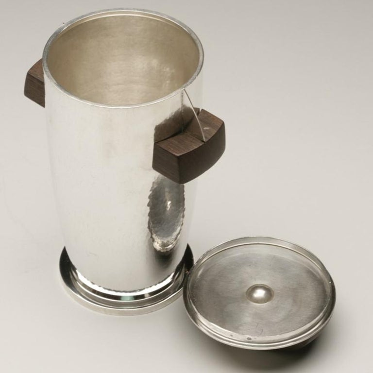 Maison Bloch Eschwege .950 Silver and Wood Art Deco Cocktail Shaker/Urn In Good Condition For Sale In San Francisco, CA