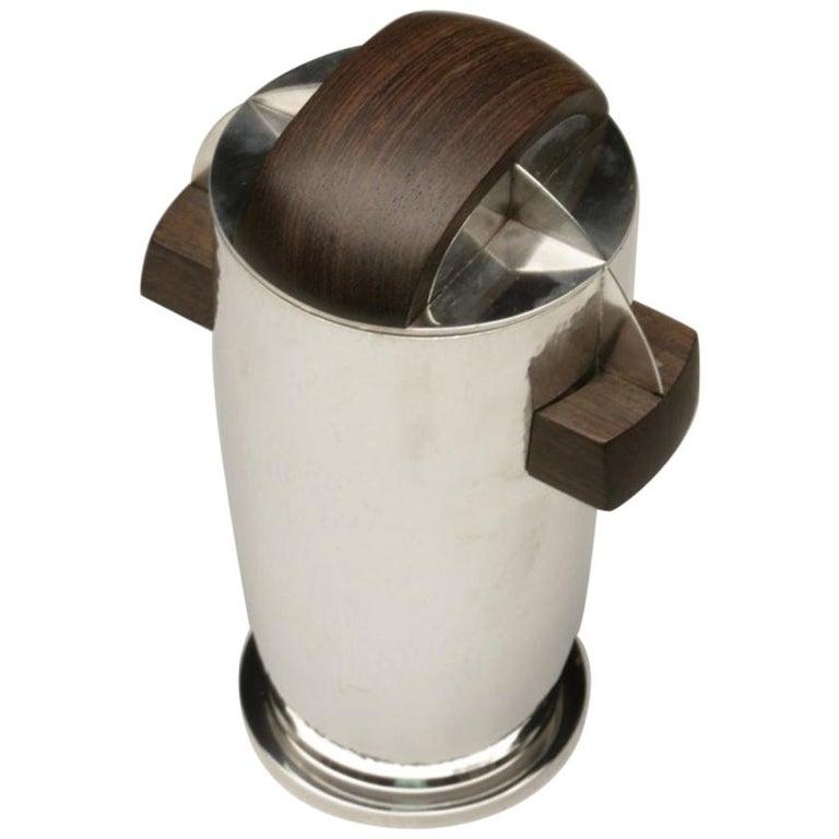Maison Bloch Eschwege .950 Silver and Wood Art Deco Cocktail Shaker/Urn For Sale