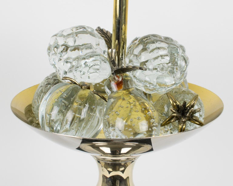 Maison Charles 1960s Black Enamel and Crystal Fruits Table Lamp  For Sale 4
