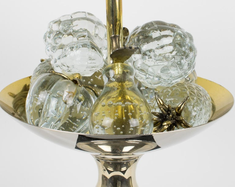 Maison Charles 1960s Black Enamel and Crystal Fruits Table Lamp  For Sale 6