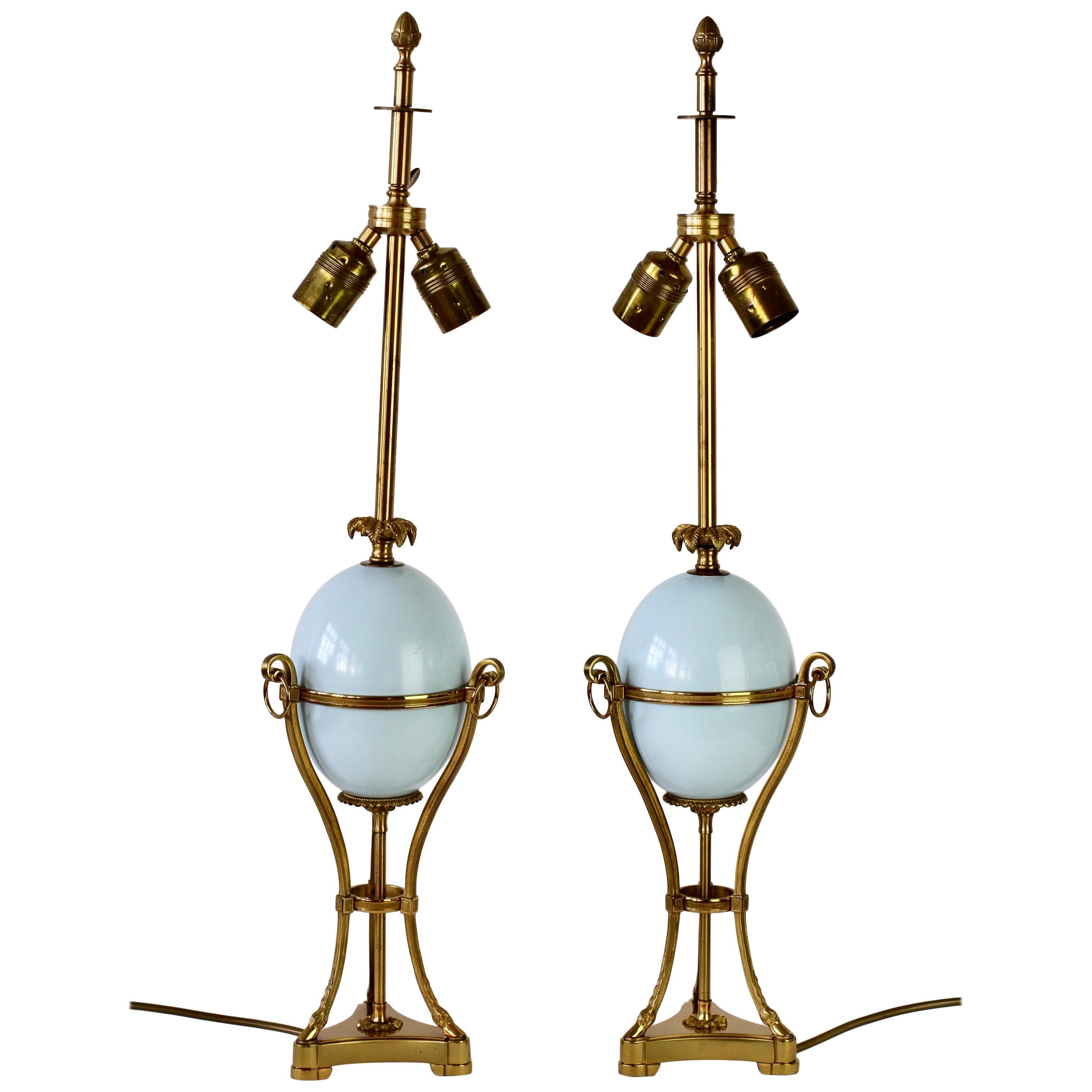 Maison Charles Attributed Pair of Tall Ostrich Egg and Brass French Table Lamps