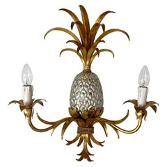 Maison Charles Attributed Gilt Pineapple Wall Light