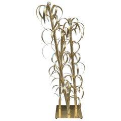 Maison Charles Brass Bamboo Floor Lamp, 1960s