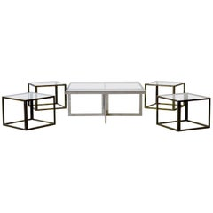 Maison Charles Brass Coffee Table with Four Nesting Tables, 1960s